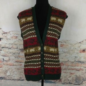 Pendleton XL Sheep Print 100% Virgin Wool Vest